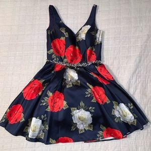 Navy Floral Semi-Formal/Homecoming Dress